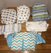 Lot of 6 Standard Boys Fitted Crib Toddler Bed Sheets-Receiving Blankets More