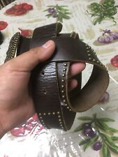 Abercrombie & Fitch Womens Wide Leather Belt Size S  Brass Studded