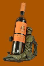 Huge Sale Signed Skeleton Wine Bottle Holder Pure Bronze Sculpture FigureDB