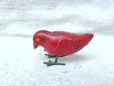 1940s Vintage Clockwork Windup Red Bird Tin Toy Germany
