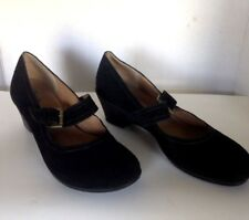Women's 11M Black Suede Mary Jane  Buckle Wedge Heels Shoes EUC by Softspots