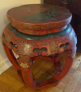 Chinese Lacquered Carved Wood Stool