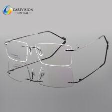 Mens Rimless β Titanium Eyeglass Frames Clear Lens Titanium Optical Glasses Rx