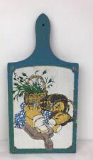 Painted Vintage Cutting Bread Board Rustic Flowers Basket Bread Blue Fast Ship