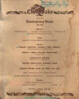 Vintage CLUB OAKS Thanksgiving Dinner Restaurant Menu 1952