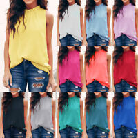 Womens Plain Sleeveless Vest Tops Summer Casual Work Tank Tops Blouse T-shirts