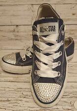 Blue Diamante/Ribbon Laced Converse Trainers Size 4