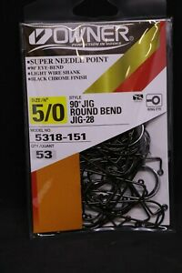 OWNER 5318-151 90 Degree JIG HOOKS w/SUPER NEEDLE POINT Size 5/0 Pro Pack of 53
