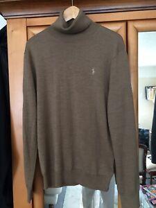 mens polo ralph lauren jumper medium Polo Neck Extra Fine Merino 100% Wool Brown