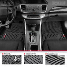 Motor Trend Trim-to-Fit Universal All-Weather Rubber Car Floor Mats 3PC Black