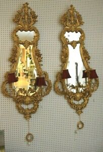 """Incredible 19th C 60"""" H Guilded Wall Sconces Make Offer"""