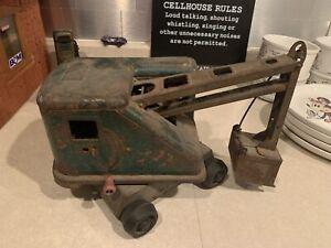 Vintage Steam Shovel Toy Crane 1950s Pressed Steel Unknown Maker