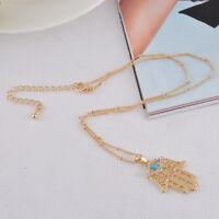 FL:Halskette Hamsa Fatimas Hand Anhänger Amulett Goldkette Strass 44cm