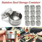 12PCS Magnetic Spice Tin Stainless Steel Storage Container Jar Clear Lid D:6.5cm