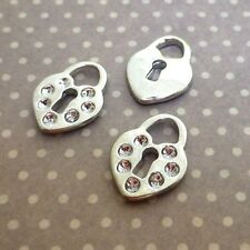 Silver Tone Heart Lock Charms Pack of 20