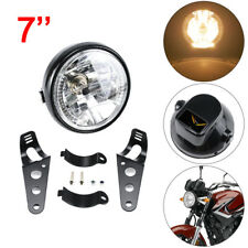 "Universal 7"" Motorcycle Motorbike Black Headlight LED Front Light Headlamp UK"