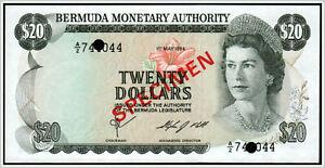 Bermuda 20 Dollars 1984 Pick 31 !!! SPECIMEN !!!