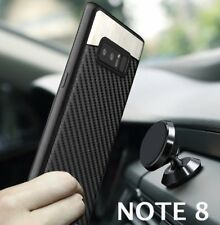 Samsung Galaxy Note 8 - Magnetic Backplate Black Carbon Fiber TPU Rubber Case