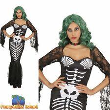 Skeleton Mermaid Bones Halloween Sexy Glamour Ladies Fancy Dress Costume