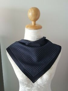 "BurberryUnisex Dark Blue Polka Dot Patterned Cotton Square Thin Handkerchief 19"""