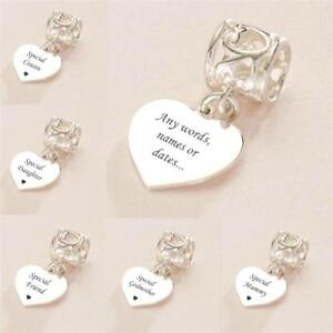 Heart Charm with Engraving, Personalised, Engraved, Sterling Silver, European