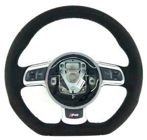Genuine Audi R8 steering wheel. Retrimmed alcantara, thicker,grey stitching. 1A