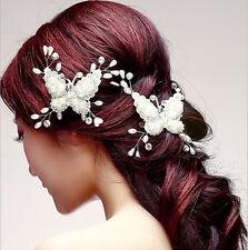 MATRIMONIO SPOSA accessorio per capelli farfalla pizzo perle strass