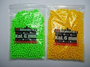 1000 Softairkugeln Airsoft BBs Kal 6 mm 0,12 grün und gelb