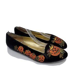 Vintage Pritzi Womens Black Velvet Embroidered Halloween Flat Ballets Size 8 M