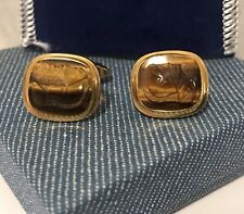 WELLS ~ Cufflinks ~ 12k GF ~ Tiger Eye ~ Carved Roman Soldier ~ Velvet Case NIB