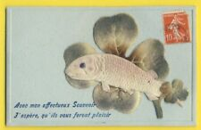 cpa en relief Embossed POISSON d'AVRIL Tissu Trèfle Chance Fish APRIL FOOL DAY