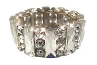 Crystal Rhinestone Bracelet Pageant Glamour Statement Jewelry Silver B12349
