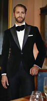 Mens Classic Black Velvet Tuxedo Jacket Evening Party Wear Dinner Blazer Coat