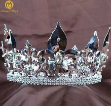Men Renaissance Crown Full Round Medieval Tiara Rhinestone Pageant Party Costume