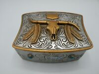 Western Longhorn Eagle Feathers Trinket  Box Hand Painted New