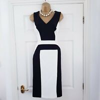 🌷Next 🌷 Size 10 Black Ivory Mono Pencil Wiggle Fitted Panel Dress Work Office