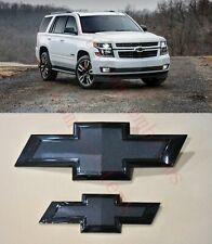 2015-2020 Chevrolet Tahoe Suburban All Black Bowtie Emblems Front & Rear