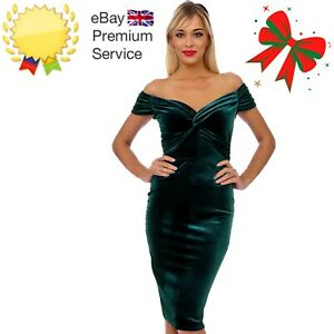 Emerald Green Velvet Bodycon Midi Pencil Bardot Christmas Evening Party Dress