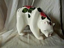 Vintage & Rare Large Wemyss Bovey Plichta Polar Bear with Cabbage Roses