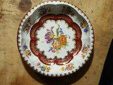 Vintage 1970s Daher Decorated Ware Floral Tin Round Snack Bowl Made in England
