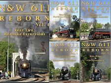 NORFOLK & WESTERN 611 REBORN 5 DVD SET NEW STEAM TRAIN VIDEOS