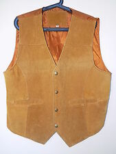 Mens vintage suede leather waistcoat size M Biker style