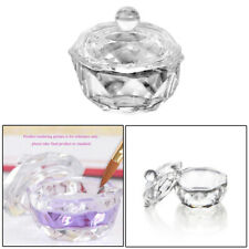 2*Round Glass Crystal Bowl Cup Dappen Dish Nail Art Liquid Powder Container Gift