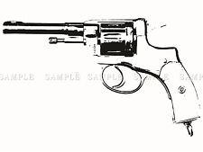PAINTING DRAWING GUN PISTOL REVOLVER TRIGGER BLACK WHITE POSTER PRINT BMP10196
