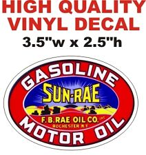 Vintage Style Sun Rae Gasoline Motor Oil F.B. Rae Oil Company Gas Pump Decal