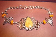 Peruvian Alpaca Silver & Orange Jasper,Gemstone Bracelet~Q87~uk seller