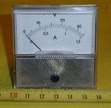 Einbau Anzeige Instrument V  + Amp Meter 0-35 V / 0 -1,5 Amp. f. Philips PE 1542