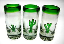 Three Amigos Mexican tequila SHOT Glasses, 3 cactus saguaro, agave, prickly pear