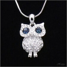Owl Bird Night Pendant Necklace Charm Chain Crystal Clear Blue Silver Tone Jewel