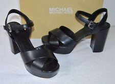New $150 Michael Kors Divia Platform Black Leather Block Heel Sandal sz 9.5